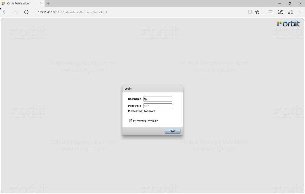 Ekran logowania Orbit Publisher