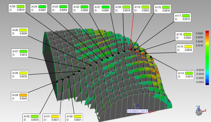 Kolorowa mapa odchyłek względem referencji z projektu